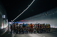 peloton in the Tijsmans tunnel under the Antwerp harbour<br /> <br /> Antwerp Port Epic 2018 (formerly &quot;Schaal Sels&quot;)<br /> One Day Race:  Antwerp &gt; Antwerp (207 km; of which 32km are cobbles &amp; 30km is gravel/off-road!)