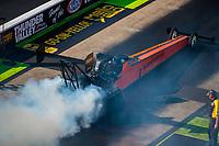 Jun 16, 2018; Bristol, TN, USA; NHRA top fuel driver Mike Salinas during qualifying for the Thunder Valley Nationals at Bristol Dragway. Mandatory Credit: Mark J. Rebilas-USA TODAY Sports