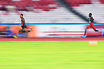 Ambience shot, (L-R) Julian Jrummi Walsh (JPN), Abbas Mohamed (QAT), <br /> AUGUST 25, 2018 - Athletics : Men's 400m Semi-final at Gelora Bung Karno Main Stadium during the 2018 Jakarta Palembang Asian Games in Jakarta, Indonesia. <br /> (Photo by MATSUO.K/AFLO SPORT)