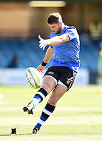 Josh Lewis of Bath Rugby kicks for the posts. Aviva Premiership match, between Bath Rugby and Newcastle Falcons on September 23, 2017 at the Recreation Ground in Bath, England. Photo by: Patrick Khachfe / Onside Images