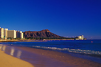 Diamond head with Waikiki beach and ocean in the foreground