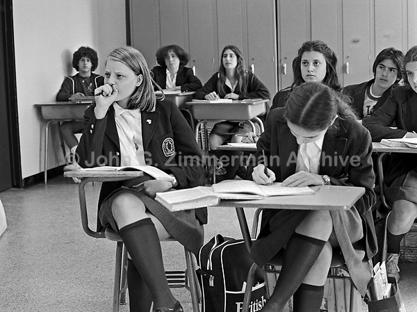 Actress Jodie Foster, age 14 (front row, left)  in class at Le Lycee Francais de Los Angeles, June, 1977. Photo by John G. Zimmerman. P94427-C17-F1A.