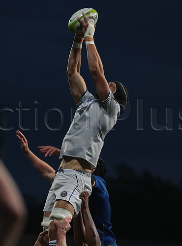 25th August 2017, Donnybrook Stadium, Dublin, Ireland; Pre Season Rugby Friendly; Leinster Rugby versus Bath Rugby; Luke Charteris (Bath) stretches for the lineout ball
