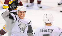 San Antonio Rampage's Wacey Rabbit, left, celebrates a goal by teammate Roman Derlyuk during the first period of an AHL hockey game against the Chicago Wolves, Wednesday, April 4, 2012, in San Antonio. (Darren Abate/pressphotointl.com)
