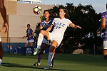 11 September 2016: Duke's Ella Stevens (17) and High Point's Paige Lloyd (behind). The Duke University Blue Devils hosted the High Point University Panthers at Koskinen Stadium in Durham, North Carolina in a 2016 NCAA Division I Women's Soccer match. Duke won the match 4-1.
