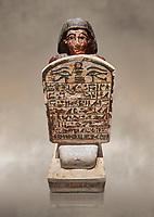 Ancient Egyptian stelophorus statue of Amenemipet, limestone, New Kingdom, 18th Dynasty, (1539-1292 BC), Deir el Medina, tomb of Ibu. Egyptian Museum, Turin. Cat 3038.