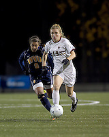 "Boston College forward Kristen Mewis (19) dribbles as West Virginia forward Frances Silva (9) closes. Boston College defeated West Virginia, 4-0, in NCAA tournament ""Sweet 16"" match at Newton Soccer Field, Newton, MA."