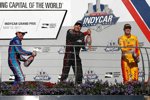 Verizon IndyCar Series<br /> IndyCar Grand Prix<br /> Indianapolis Motor Speedway, Indianapolis, IN USA<br /> Saturday 13 May 2017<br /> Scott Dixon, Chip Ganassi Racing Teams Honda, Will Power, Team Penske Chevrolet, Ryan Hunter-Reay, Andretti Autosport Honda, podium, champagne.<br /> World Copyright: Michael L. Levitt<br /> LAT Images