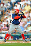 12 March 2008: Washington Nationals' infielder Willie Harris at bat during a Spring Training game against the Los Angeles Dodgers at Holman Stadium, in Vero Beach, Florida. The Nationals defeated the Dodgers 10-4 at the historic Dodgertown ballpark. 2008 marks the final season of Spring Training at Dodgertown for the Dodgers, as the team will move to new training facilities in Arizona starting in 2009 after 60 years in Florida...Mandatory Photo Credit: Ed Wolfstein Photo