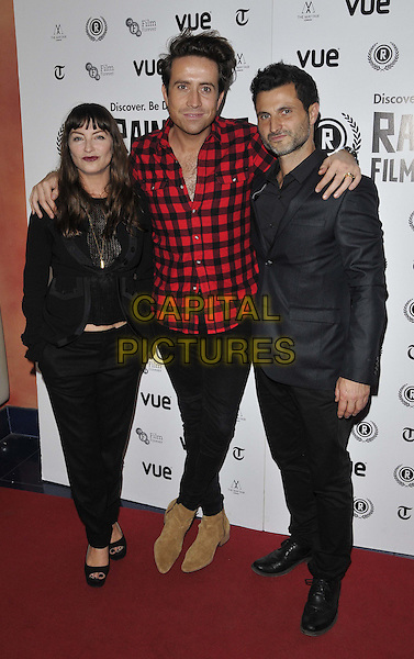 LONDON, ENGLAND - OCTOBER 02: Collette Cooper, Nick Grimshaw &amp; Raffaello Degruttola attend the &quot;Flim: The Movie&quot; UK film premiere, Raindance film festival, Vue Piccadilly cinema, Lower Regent St., on Thursday October 02, 2014 in London, England, UK. <br /> CAP/CAN<br /> &copy;Can Nguyen/Capital Pictures