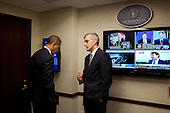 Washington, DC - October 5, 2009 -- President Barack Obama talks alone with NSC Chief of Staff Denis McDonough prior to a meeting in the Situation Room of the White House, Monday, October 5, 2009.  .Mandatory Credit: Pete Souza - White House via CNP