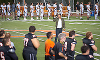 Occidental College student Alton Luke '18 (College Chorus, Cadence) sings the National Anthem before Oxy's football game against Claremont-Mudd-Scripps on Homecoming weekend, Oct. 25, 2014. (Photo by Marc Campos, Occidental College Photographer)