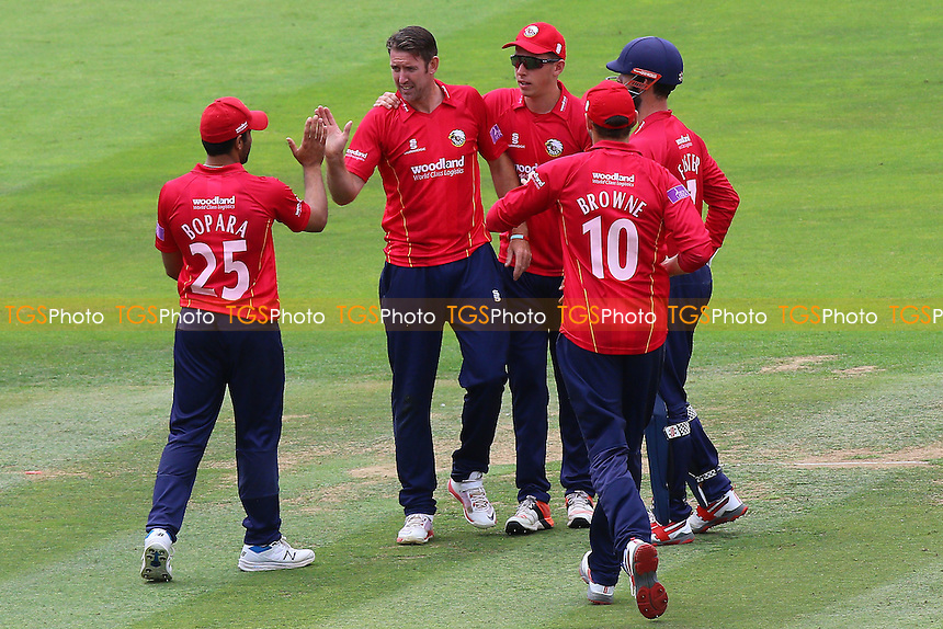 David Masters of Essex (2nd L) is congratulated by his team mates after taking the wicket of John Simpson during Middlesex vs Essex Eagles, Royal London One-Day Cup Cricket at Lord's Cricket Ground on 31st July 2016
