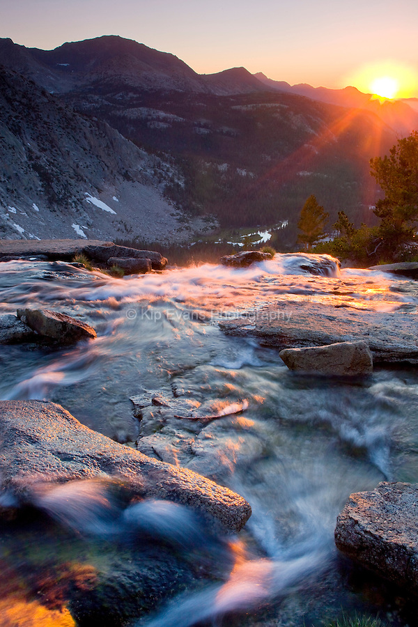 Sunset overlooking Evolution Creek along the John Muir Trail in Kings Canyon National Park, California.