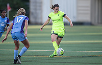 Seattle, WA - Saturday July 23, 2016: Dani Weatherholt, Kendall Fletcher during a regular season National Women's Soccer League (NWSL) match between the Seattle Reign FC and the Orlando Pride at Memorial Stadium.