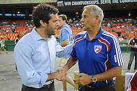 DC United Head Coach Ben Olsen and FC Dallas Head Coach Schellas Hyndman.  FC Dallas defeated DC United 3-1 at RFK Stadium, Saturday August 14, 2010.