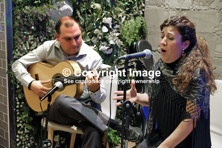 Flamenco guitarist and singer,  Paco Lara and Rosi Borja, performing in Ambrosia, restaurant, San Pedro de Alcantara, Malaga Province, Spain, 9th December 2015, 201512091864<br /><br />Copyright Image from Victor Patterson,<br />54 Dorchester Park, Belfast, UK, BT9 6RJ<br /><br />t1: +44 28 90661296<br />t2: +44 28 90022446<br />m: +44 7802 353836<br /><br />e1: victorpatterson@me.com<br />e2: victorpatterson@gmail.com<br /><br />For my Terms and Conditions of Use go to<br />www.victorpatterson.com