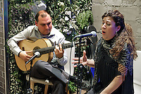 Flamenco guitarist and singer,  Paco Lara and Rosi Borja, performing in Ambrosia, restaurant, San Pedro de Alcantara, Malaga Province, Spain, 9th December 2015, 201512091864<br />