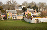 Buildings in valley floor of Tilshead village, Wiltshire, England, UK