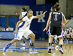 Junior guard Maegan Conwright defends  High Point junior Talyer Tremblay at the Women's Basketball game at Memorial Coliseum in Lexington, Ky., on Saturday, November. 17, 2012..