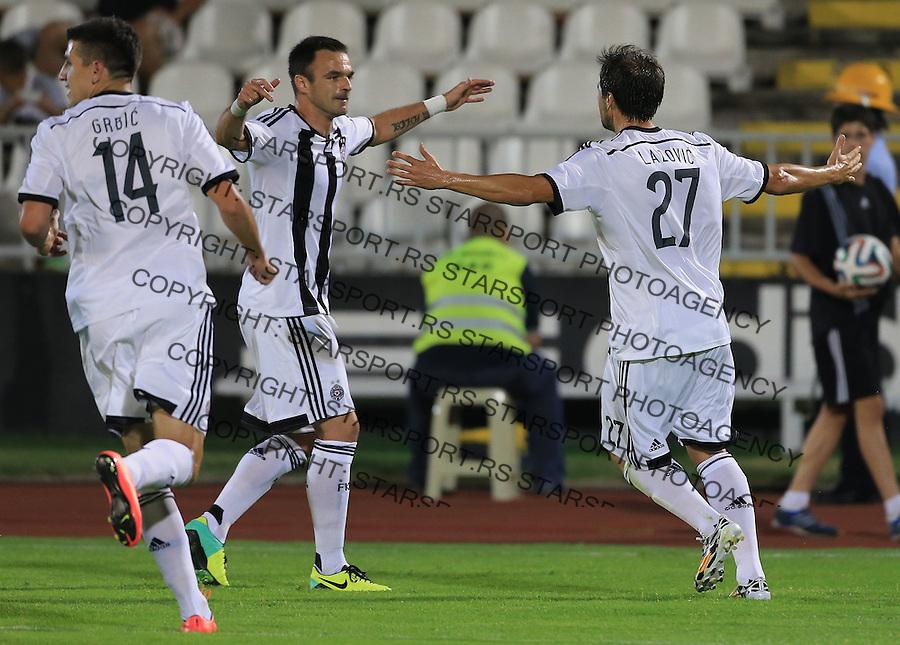 Fudbal Football Soccer<br /> UEFA Champions league-2nd qualifying round<br /> Partizan v HB Torshavn (Faroe Islands)<br /> Danko Lazovic (R) celebrate the goal with the Nikola Drincic<br /> Beograd, 07.15.2014.<br /> foto: Srdjan Stevanovic/Starsportphoto &copy;