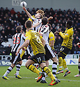 CELTIC PLAYERS CLAIM FOR A PENALTY AS THE BALL SEEMS TO STRIKE THE HAND OF ST MIRREN'S MARC MCAUSLAND.