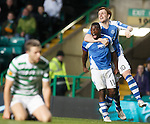 Nigel Hasselbaink celebrates his goal with Liam Craig as Celtic's Adam Matthews is gutted