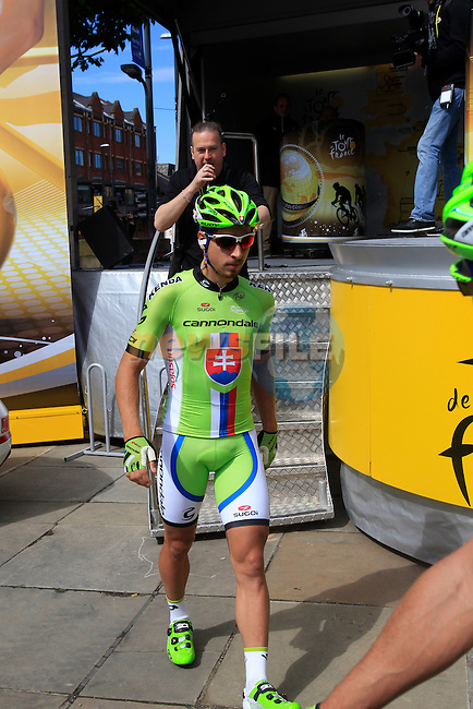 Peter Sagan (SVK) Cannondale at sign on before the start Stage 1 of the 2014 Tour de France running 190.5km from Leeds to Harrogate. 5th July 2014.<br /> Picture: Eoin Clarke www.newsfile.ie