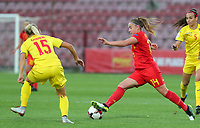 20191008 CLUJ NAPOCA: Belgium's Davinia Vanmechelen (14) is pictured with the ball and Romania's Brigita Goder (15) is trying to defend at the match between Belgium Women's National Team and Romania Women's National Team as part of EURO 2021 Qualifiers on 8th of October 2019 at CFR Stadium, Cluj Napoca, Romania. PHOTO SPORTPIX | SEVIL OKTEM