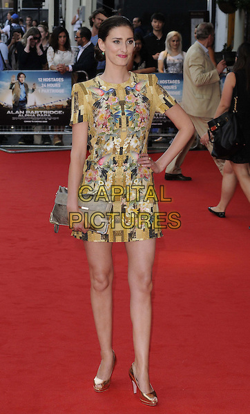 Jessica Knappett<br /> attended the &quot;Alan Partridge: Alpha Papa&quot; UK film premiere, Vue West End cinema, Leicester Square, London, England, UK, <br /> 24th July 2013.<br /> full length gold yellow dress hand on hip patchwork clutch bag shoes <br /> CAP/CAN<br /> &copy;Can Nguyen/Capital Pictures