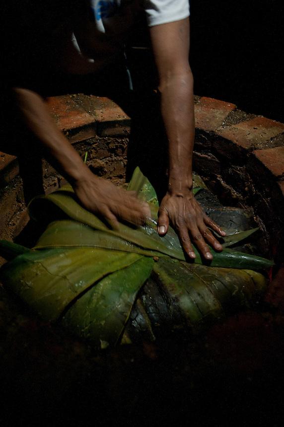 Gerardo making the Barbacoa for Annuska's 40th birthday.  Cuatepetitla, San Jose de los Laureles, Morelos, Mexico.