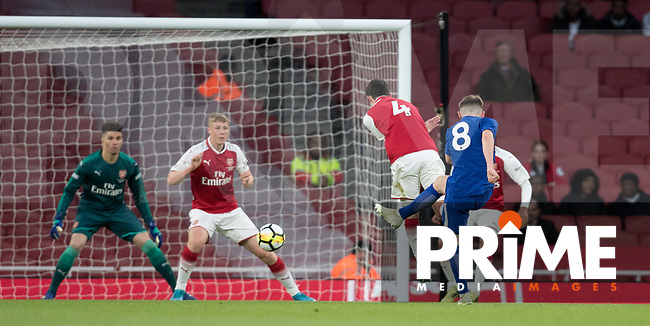 Billy Gilmour of Chelsea U18 scores a goal during the FA Youth Cup FINAL 2nd leg match between Arsenal and Chelsea at the Emirates Stadium, London, England on 30 April 2018. Photo by Andy Rowland.