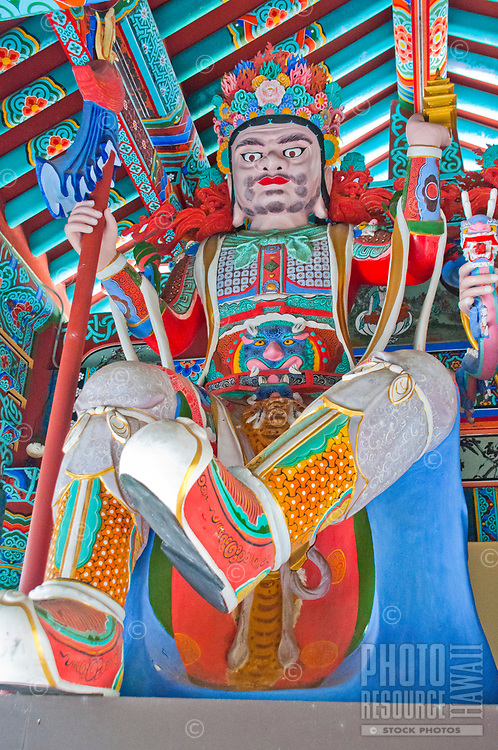 One of the Four Heavenly Kings at Mu-Ryang-Sa (or Broken Ridge Temple), a Korean Buddhist temple in Palolo Valley, Honolulu, O'ahu, whose offerings include Buddhist teachings and meditation.