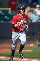 Great Lakes Loons designated hitter Federico Celli (25) jogs to first during a game against the Clinton LumberKings on August 16, 2015 at Ashford University Field in Clinton, Iowa.  Great Lakes defeated Clinton 3-2 in ten innings.  (Mike Janes/Four Seam Images)