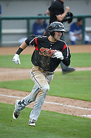 Chase Jensen (20) of the Lake Elsinore Storm runs to first base during a game against the Rancho Cucamonga Quakes at LoanMart Field on April 10, 2016 in Rancho Cucamonga, California. Lake Elsinore defeated Rancho Cucamonga, 7-6. (Larry Goren/Four Seam Images)