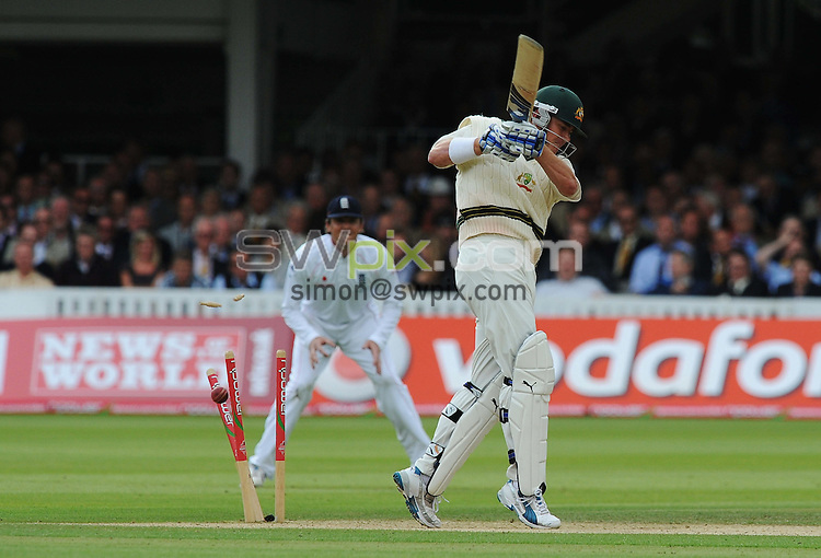 PICTURE BY ALEX BROADWAY/SWPIX.COM - Cricket - The Ashes 2009, 2nd Test - England v Australia, Day Two - Lord's, London, England - 17/07/09...Copyright - Simon Wilkinson - 07811267706...Marcus North of Australia is bowled by James Anderson of England.