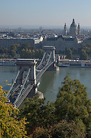 The Chain Bridge crosses the Danube to Castle Hill, Budapest