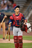 Potomac Nationals catcher Tres Barrera (33) walks back to the clubhouse after the first game of a doubleheader against the Lynchburg Hillcats on June 9, 2018 at Calvin Falwell Field in Lynchburg, Virginia.  Lynchburg defeated Potomac 5-3.  (Mike Janes/Four Seam Images)