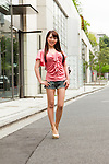 June 18, 2012, Tokyo, Japan - Yuka Tachibana, model. Fashion point - Mixed style such as my classy shirt with casual denim shorts. Favorite brand - Tiffany & Co., D&G, Louis Vuitton. Yuka bought her shoes in Ginza, denim shorts in Shinjuku and top in Roppongi. (Photo by Christopher Jue/Nippon News)