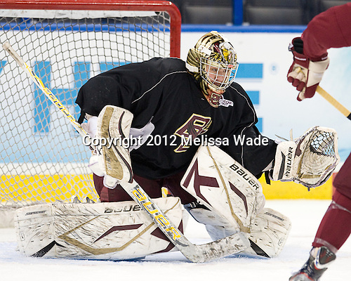 Brad Barone (BC - 29) - The Boston College Eagles practiced on Wednesday, April 4, 2012, during the 2012 Frozen Four at the Tampa Bay Times Forum in Tampa, Florida.