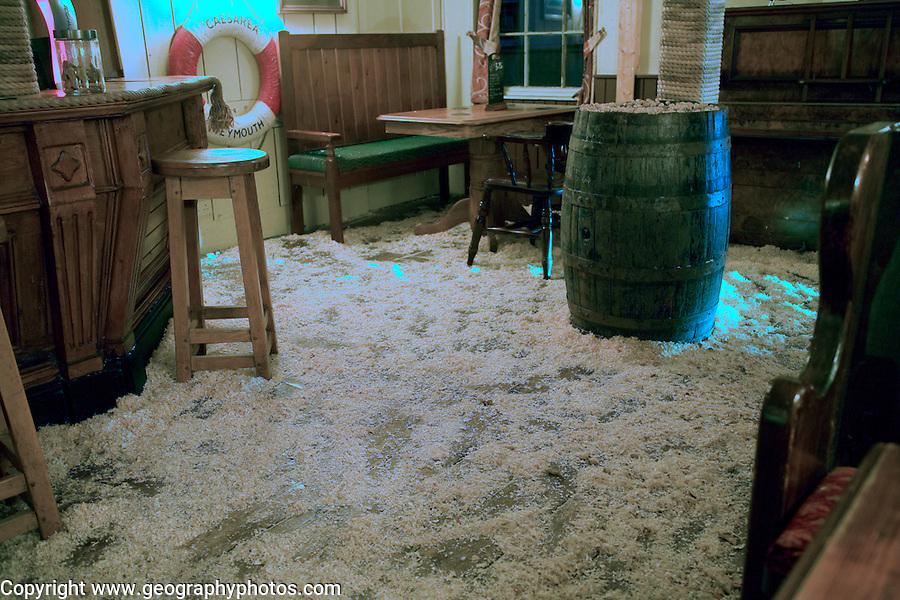 Sawdust on the floor of traditional pub, Weymouth, Dorset, England
