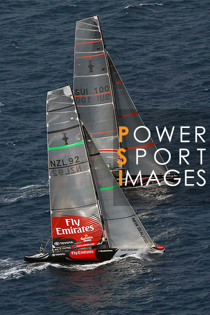 23 June 2007, Valencia, Spain --- 32nd America's Cup defender Alinghi of Switzerland race against challenger Emirates Team New Zealand in Valencia. Photo by Victor Fraile / The Power of Sport Images