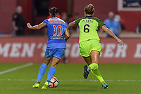 Bridgeview, IL - Wednesday August 16, 2017: Vanessa DiBernardo, Lindsay Elston during a regular season National Women's Soccer League (NWSL) match between the Chicago Red Stars and the Seattle Reign FC at Toyota Park. The Seattle Reign FC won 2-1.