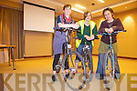 HUMAN CINEMA: Volunteer cyclists are needed to power a film as part of the Transition Transport Working Group talk next Thursday night 28th in Tralee. PIctured from l-r were: Carina Claffey,  Cathy Eastman and Niamh Ni Dhuill.