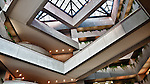 Interior of PNC bank, Dayton Ohio showing skylight and angles. The building's architect was  I.M.Pei