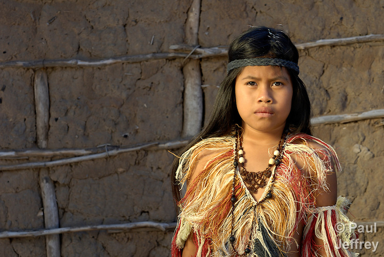 Soledad Hereyra, a 6-year old Wichi indigenous girl in Argentina, in traditional clothing.