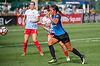 Kansas City, MO - Wednesday August 16, 2017: Arin Gilliland, Sydney Leroux Dwyer during a regular season National Women's Soccer League (NWSL) match between FC Kansas City and the Chicago Red Stars at Children's Mercy Victory Field.