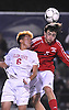 Hernan Cruz #6 of Glen Cove, left, and Christopher Romanowski #5 of South Side go up for a header during the Nassau County varsity boys soccer Class A final at Hofstra University on Wednesday, Nov. 2, 2016.