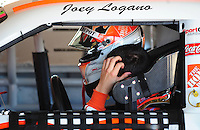 Feb 07, 2009; Daytona Beach, FL, USA; NASCAR Sprint Cup Series driver Joey Logano reacts during practice for the Daytona 500 at Daytona International Speedway. Mandatory Credit: Mark J. Rebilas-