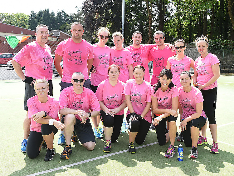 Mary Murtagh with all who took part in The Pink Pedal Challenge in the Boyne Valley Country Club. Photo:Colin Bell/pressphotos.ie